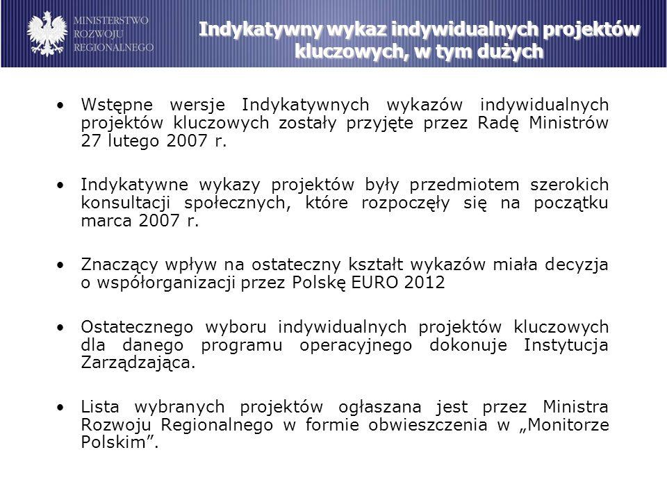 Wstępne wersje Indykatywnych wykazów indywidualnych projektów kluczowych zostały przyjęte przez Radę Ministrów 27 lutego 2007 r.