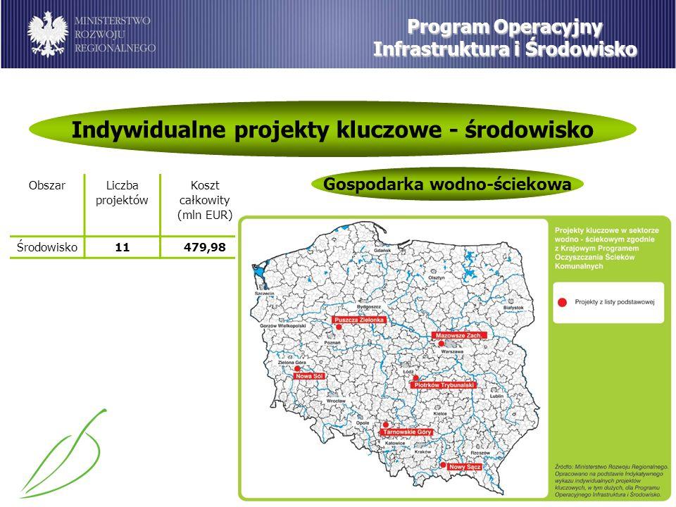 Program Operacyjny Infrastruktura i Środowisko Indywidualne projekty kluczowe - środowisko Gospodarka wodno-ściekowa ObszarLiczba projektów Koszt całkowity (mln EUR) Środowisko11479,98