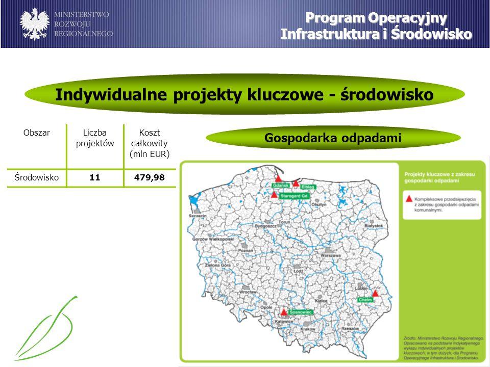 Program Operacyjny Infrastruktura i Środowisko Indywidualne projekty kluczowe - środowisko Gospodarka odpadami ObszarLiczba projektów Koszt całkowity (mln EUR) Środowisko11479,98