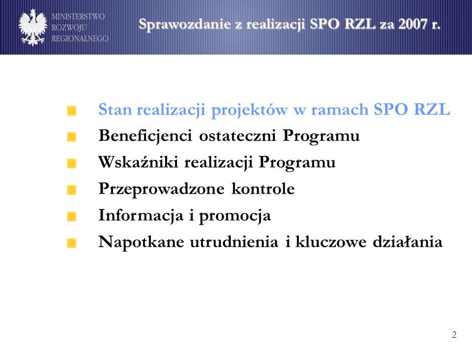 Stan realizacji projektów w ramach SPO RZL Beneficjenci ostateczni Programu Wskaźniki realizacji Programu Przeprowadzone kontrole Informacja i promocja Napotkane utrudnienia i kluczowe działania Sprawozdanie z realizacji SPO RZL za 2007 r.