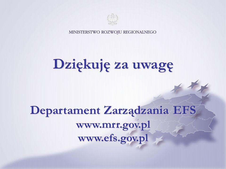 Departament Zarządzania EFS www.mrr.gov.pl www.efs.gov.pl Dziękuję za uwagę