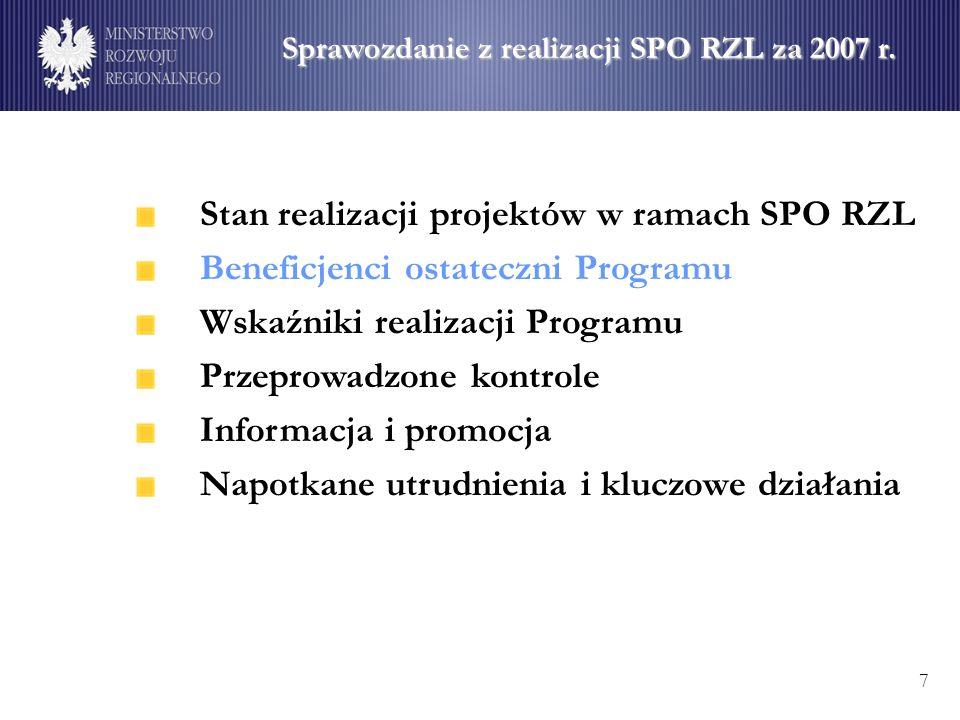 Stan realizacji projektów w ramach SPO RZL Beneficjenci ostateczni Programu Wskaźniki realizacji Programu Przeprowadzone kontrole Informacja i promocja Napotkane utrudnienia i kluczowe działania 7 Sprawozdanie z realizacji SPO RZL za 2007 r.