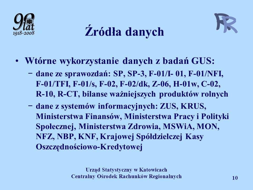 Urząd Statystyczny w Katowicach Centralny Ośrodek Rachunków Regionalnych 10 Źródła danych Wtórne wykorzystanie danych z badań GUS: dane ze sprawozdań: