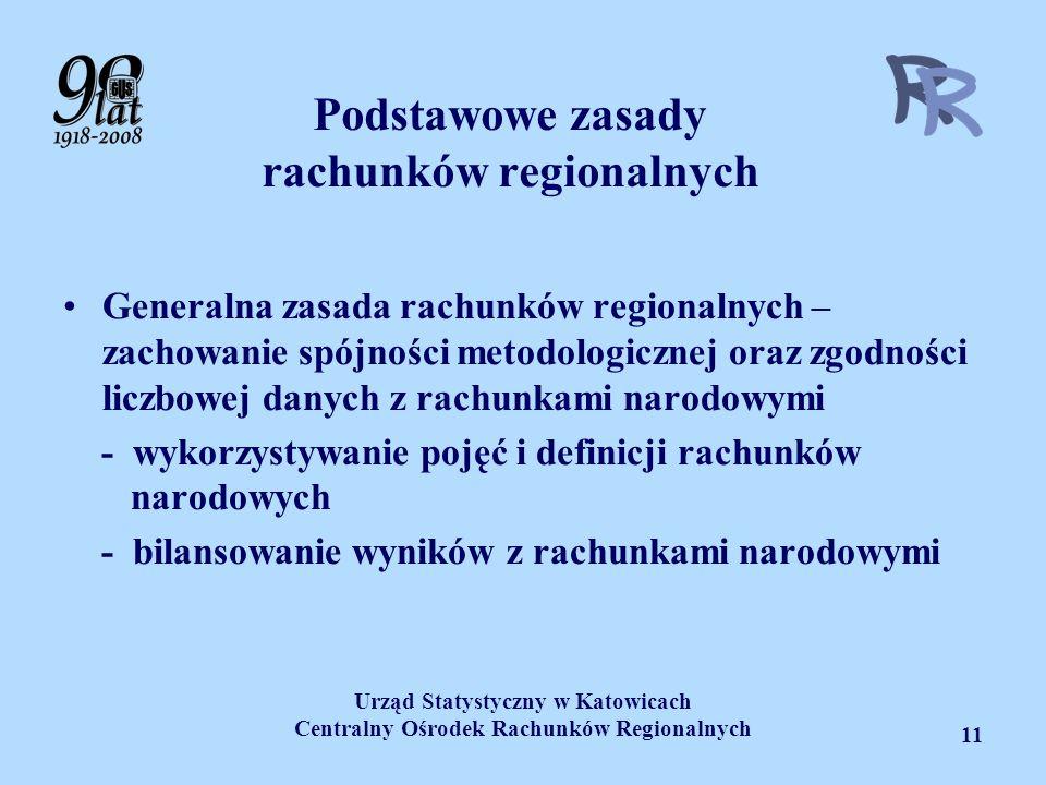 Urząd Statystyczny w Katowicach Centralny Ośrodek Rachunków Regionalnych 11 Podstawowe zasady rachunków regionalnych Generalna zasada rachunków region