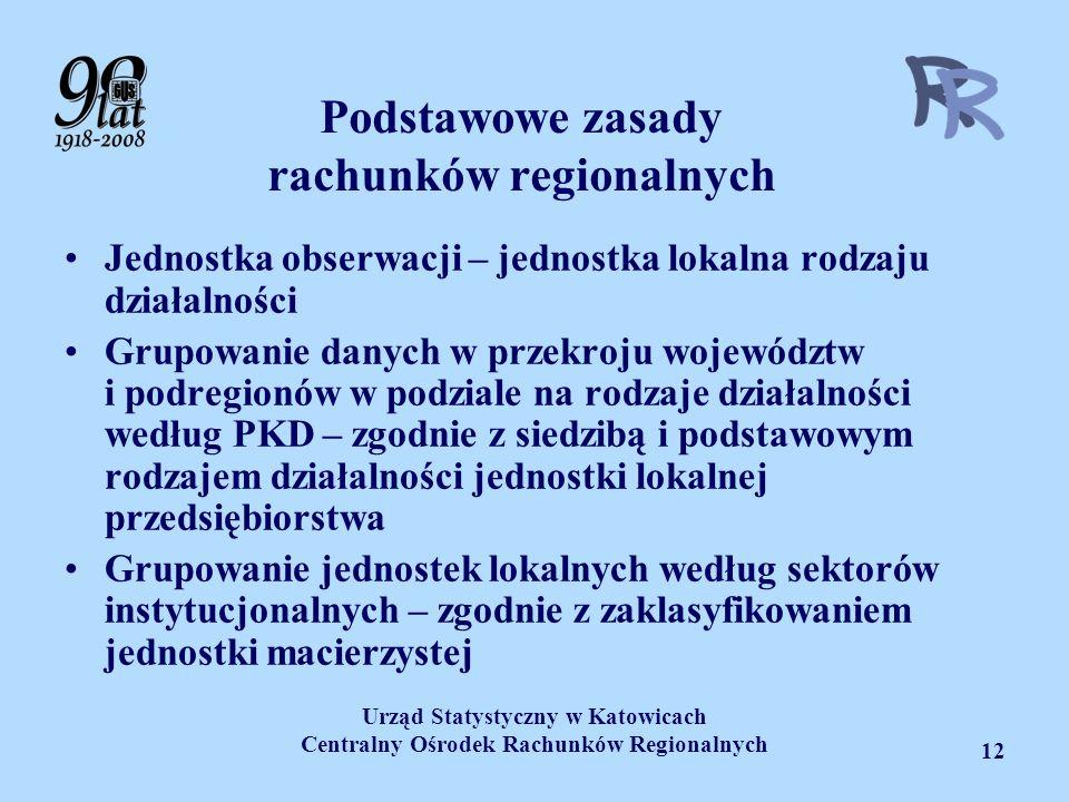 Urząd Statystyczny w Katowicach Centralny Ośrodek Rachunków Regionalnych 12 Podstawowe zasady rachunków regionalnych Jednostka obserwacji – jednostka
