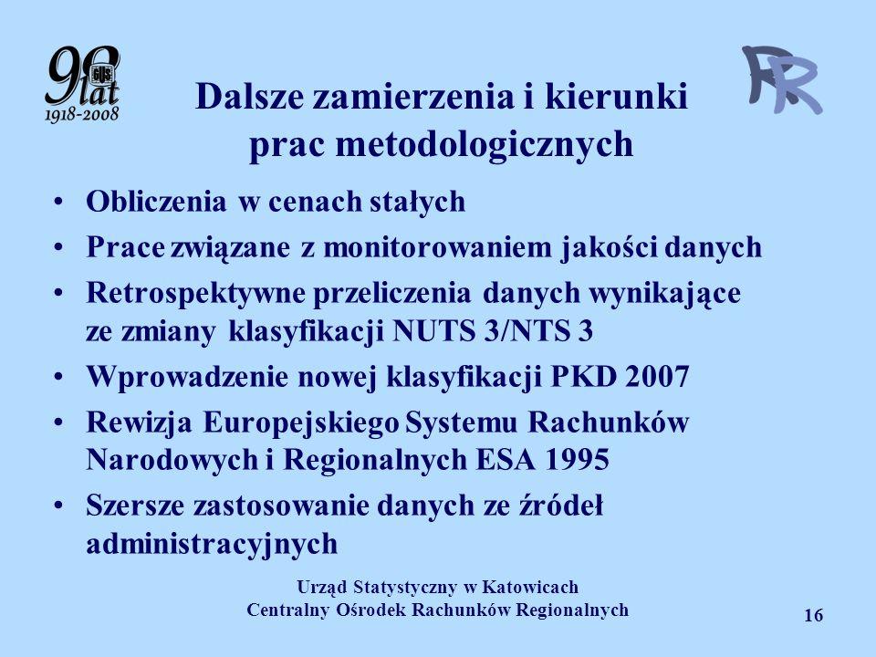 Urząd Statystyczny w Katowicach Centralny Ośrodek Rachunków Regionalnych 16 Dalsze zamierzenia i kierunki prac metodologicznych Obliczenia w cenach st