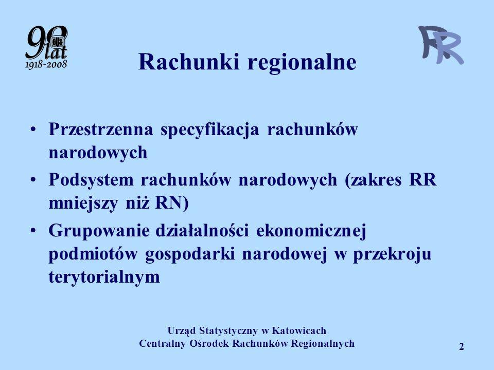 Urząd Statystyczny w Katowicach Centralny Ośrodek Rachunków Regionalnych 2 Rachunki regionalne Przestrzenna specyfikacja rachunków narodowych Podsyste