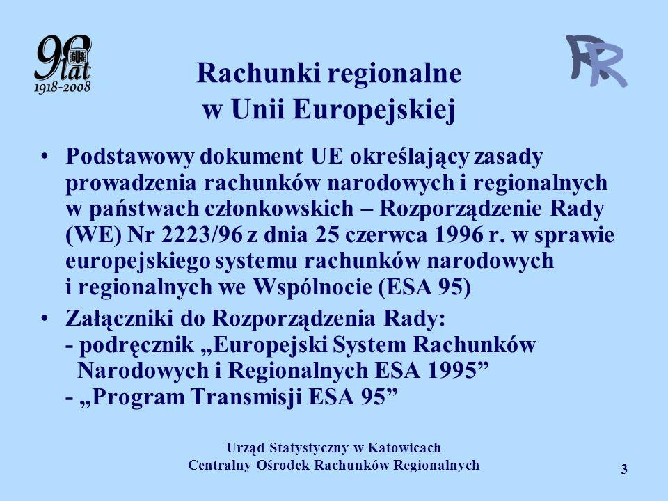 Urząd Statystyczny w Katowicach Centralny Ośrodek Rachunków Regionalnych 3 Rachunki regionalne w Unii Europejskiej Podstawowy dokument UE określający