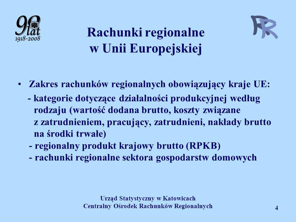 Urząd Statystyczny w Katowicach Centralny Ośrodek Rachunków Regionalnych 4 Rachunki regionalne w Unii Europejskiej Zakres rachunków regionalnych obowi