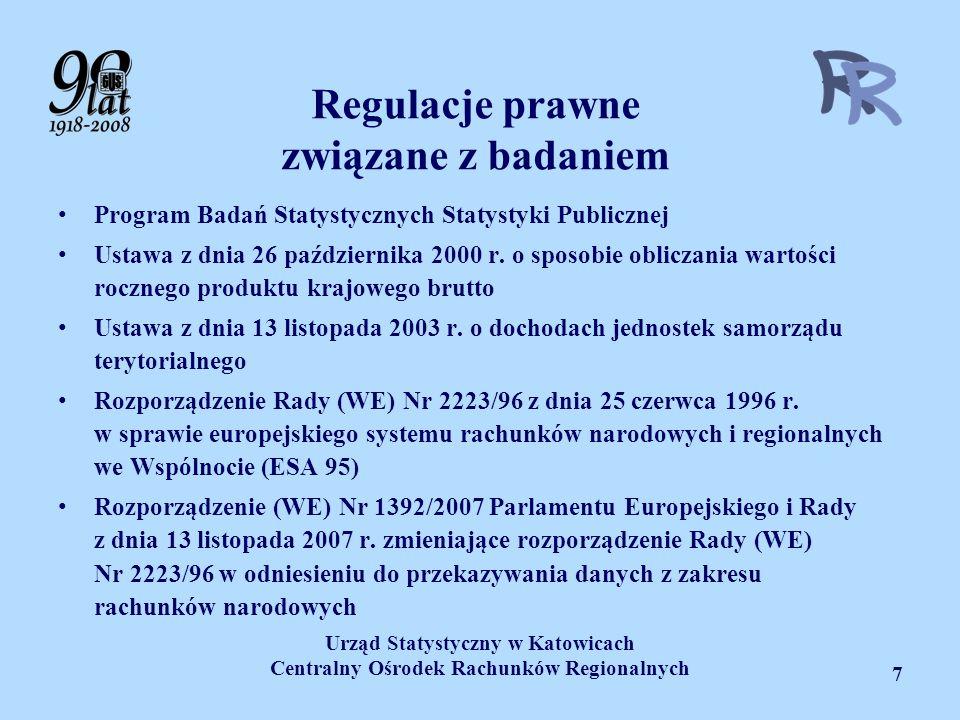 Urząd Statystyczny w Katowicach Centralny Ośrodek Rachunków Regionalnych 7 Regulacje prawne związane z badaniem Program Badań Statystycznych Statystyk