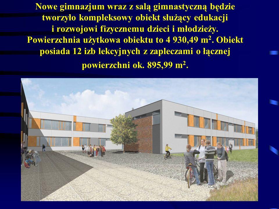 Nowe gimnazjum wraz z salą gimnastyczną będzie tworzyło kompleksowy obiekt służący edukacji i rozwojowi fizycznemu dzieci i młodzieży. Powierzchnia uż