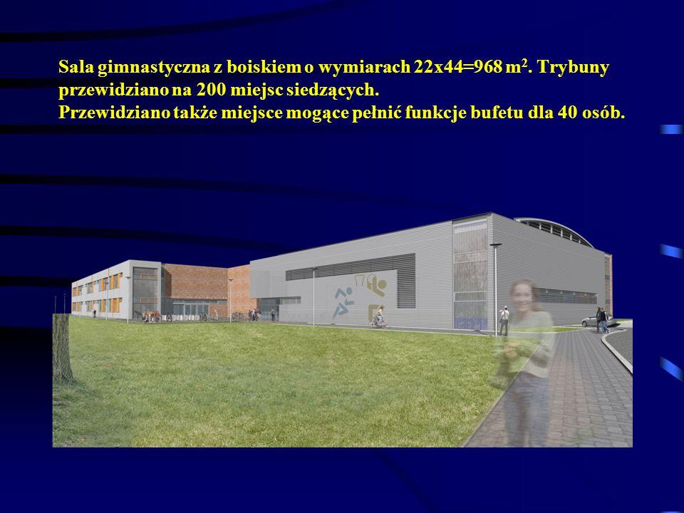 Sala gimnastyczna z boiskiem o wymiarach 22x44=968 m 2. Trybuny przewidziano na 200 miejsc siedzących. Przewidziano także miejsce mogące pełnić funkcj