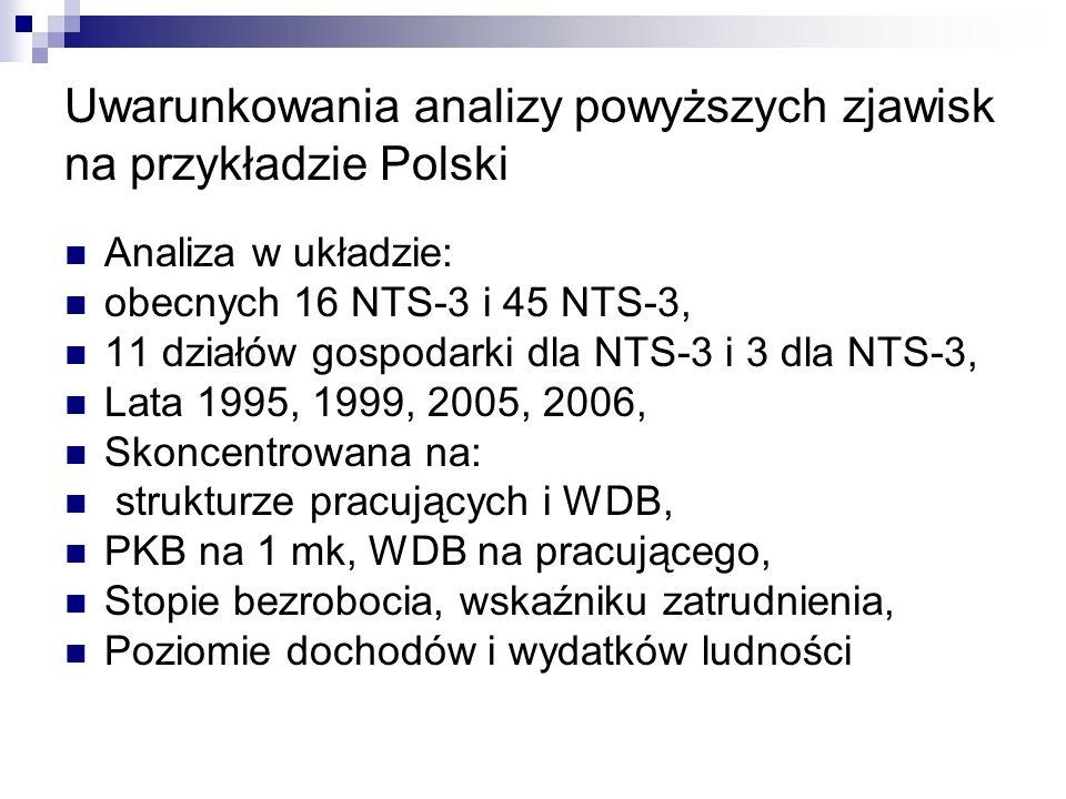 Uwarunkowania analizy powyższych zjawisk na przykładzie Polski Analiza w układzie: obecnych 16 NTS-3 i 45 NTS-3, 11 działów gospodarki dla NTS-3 i 3 d