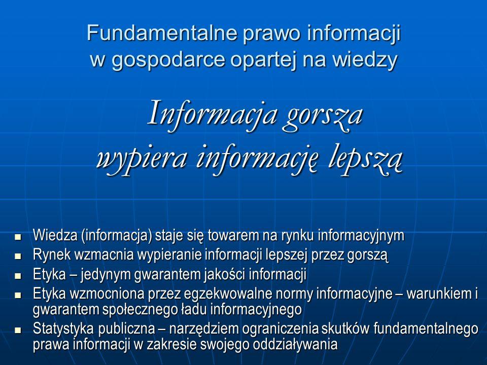 Fundamentalne prawo informacji w gospodarce opartej na wiedzy Informacja gorsza Informacja gorsza wypiera informację lepszą Wiedza (informacja) staje