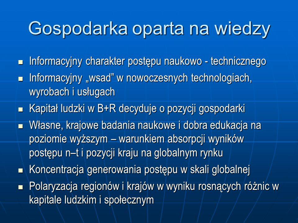 Gospodarka oparta na wiedzy Informacyjny charakter postępu naukowo - technicznego Informacyjny charakter postępu naukowo - technicznego Informacyjny w