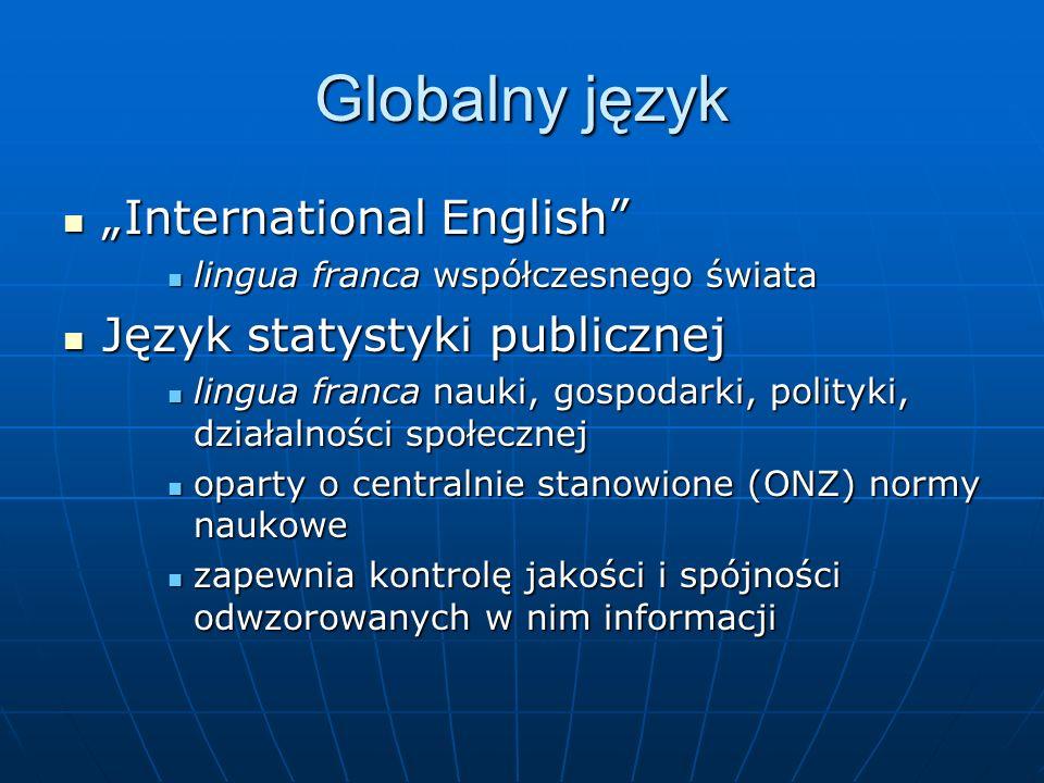 Globalny język International English International English lingua franca współczesnego świata lingua franca współczesnego świata Język statystyki publ