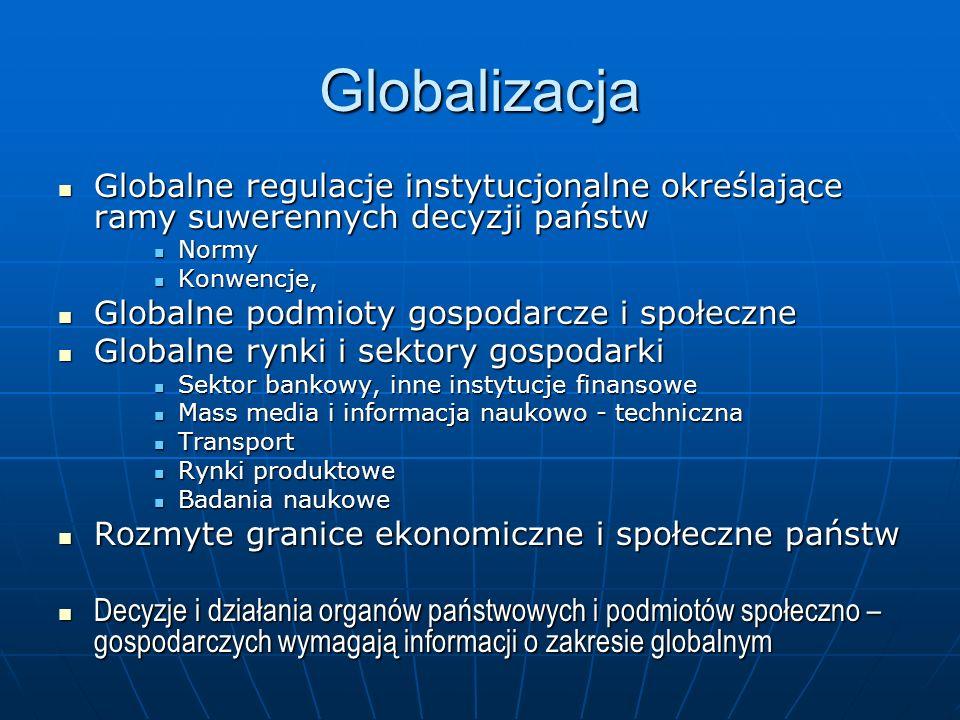Globalne normy informacyjne Metastandardy Metastandardy Pojęcia i definicje Pojęcia i definicje Klasyfikacje, nomenklatury, typologie, kody Klasyfikacje, nomenklatury, typologie, kody Standardy metodologiczne pomiaru i opisu systemów, procesów i zjawisk społecznych, ekonomicznych, ekologicznych Standardy metodologiczne pomiaru i opisu systemów, procesów i zjawisk społecznych, ekonomicznych, ekologicznych Informacje zgodne z normami Informacje zgodne z normami Normy koordynujące systemy informacji Normy koordynujące systemy informacji Normy informacyjne badań naukowych oraz procesów decyzyjnych z polityce, gospodarce, życiu społecznym Normy informacyjne badań naukowych oraz procesów decyzyjnych z polityce, gospodarce, życiu społecznym Statystyka publiczna tworzy, upowszechnia i egzekwuje normy informacyjne Statystyka publiczna tworzy, upowszechnia i egzekwuje normy informacyjne