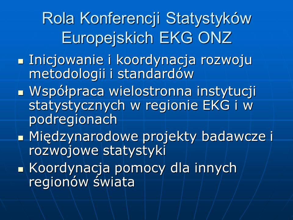 Rola Konferencji Statystyków Europejskich EKG ONZ Inicjowanie i koordynacja rozwoju metodologii i standardów Inicjowanie i koordynacja rozwoju metodologii i standardów Współpraca wielostronna instytucji statystycznych w regionie EKG i w podregionach Współpraca wielostronna instytucji statystycznych w regionie EKG i w podregionach Międzynarodowe projekty badawcze i rozwojowe statystyki Międzynarodowe projekty badawcze i rozwojowe statystyki Koordynacja pomocy dla innych regionów świata Koordynacja pomocy dla innych regionów świata
