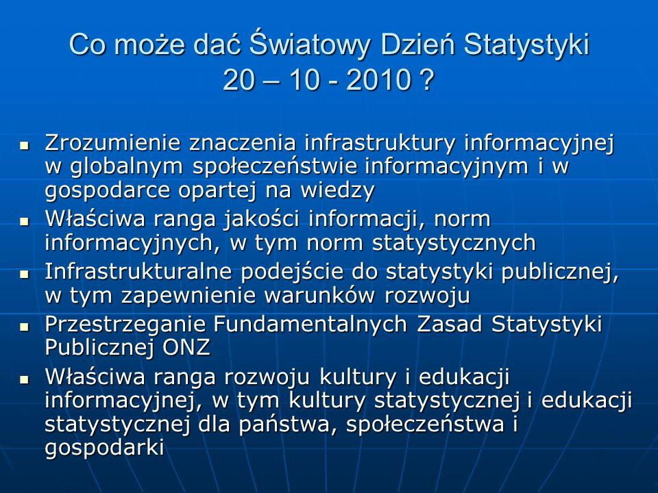 Co może dać Światowy Dzień Statystyki 20 – 10 - 2010 .