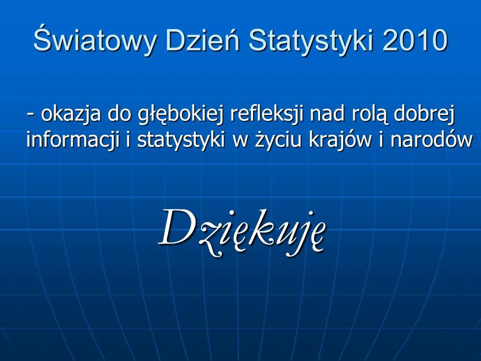 Światowy Dzień Statystyki 2010 - okazja do głębokiej refleksji nad rolą dobrej informacji i statystyki w życiu krajów i narodów Dziękuję