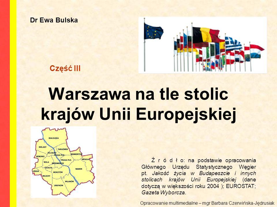 Warszawa na tle stolic krajów Unii Europejskiej Dr Ewa Bulska Ź r ó d ł o: na podstawie opracowania Głównego Urzędu Statystycznego Węgier pt.