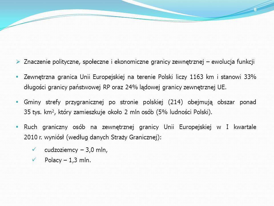 6 Znaczenie polityczne, społeczne i ekonomiczne granicy zewnętrznej – ewolucja funkcji Zewnętrzna granica Unii Europejskiej na terenie Polski liczy 11