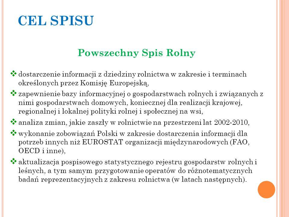 CEL SPISU Powszechny Spis Rolny dostarczenie informacji z dziedziny rolnictwa w zakresie i terminach określonych przez Komisję Europejską, zapewnienie bazy informacyjnej o gospodarstwach rolnych i związanych z nimi gospodarstwach domowych, koniecznej dla realizacji krajowej, regionalnej i lokalnej polityki rolnej i społecznej na wsi, analiza zmian, jakie zaszły w rolnictwie na przestrzeni lat 2002-2010, wykonanie zobowiązań Polski w zakresie dostarczenia informacji dla potrzeb innych niż EUROSTAT organizacji międzynarodowych (FAO, OECD i inne), aktualizacja pospisowego statystycznego rejestru gospodarstw rolnych i leśnych, a tym samym przygotowanie operatów do różnotematycznych badań reprezentacyjnych z zakresu rolnictwa (w latach następnych).