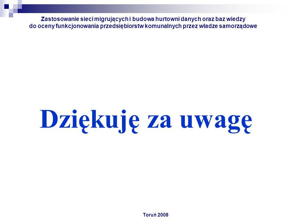 Dziękuję za uwagę Toruń 2008 Zastosowanie sieci migrujących i budowa hurtowni danych oraz baz wiedzy do oceny funkcjonowania przedsiębiorstw komunalnych przez władze samorządowe