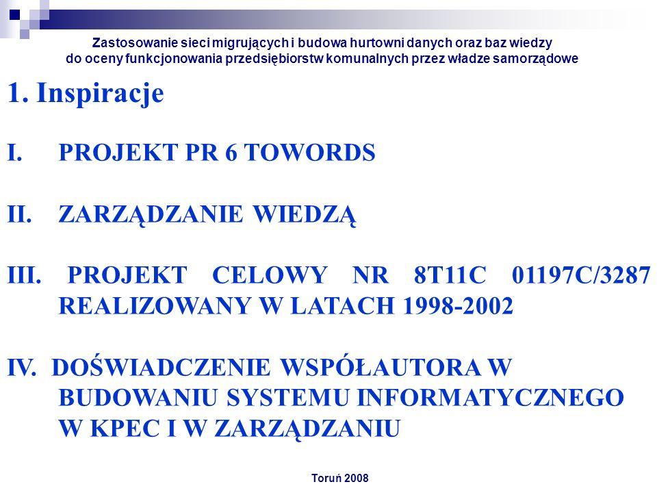 1. Inspiracje Toruń 2008 Zastosowanie sieci migrujących i budowa hurtowni danych oraz baz wiedzy do oceny funkcjonowania przedsiębiorstw komunalnych p