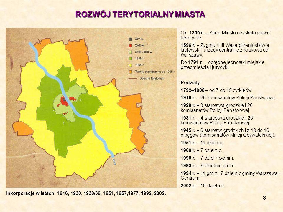 3 ROZWÓJ TERYTORIALNY MIASTA Ok. 1300 r. – Stare Miasto uzyskało prawo lokacyjne. 1596 r. – Zygmunt III Waza przeniósł dwór królewski i urzędy central