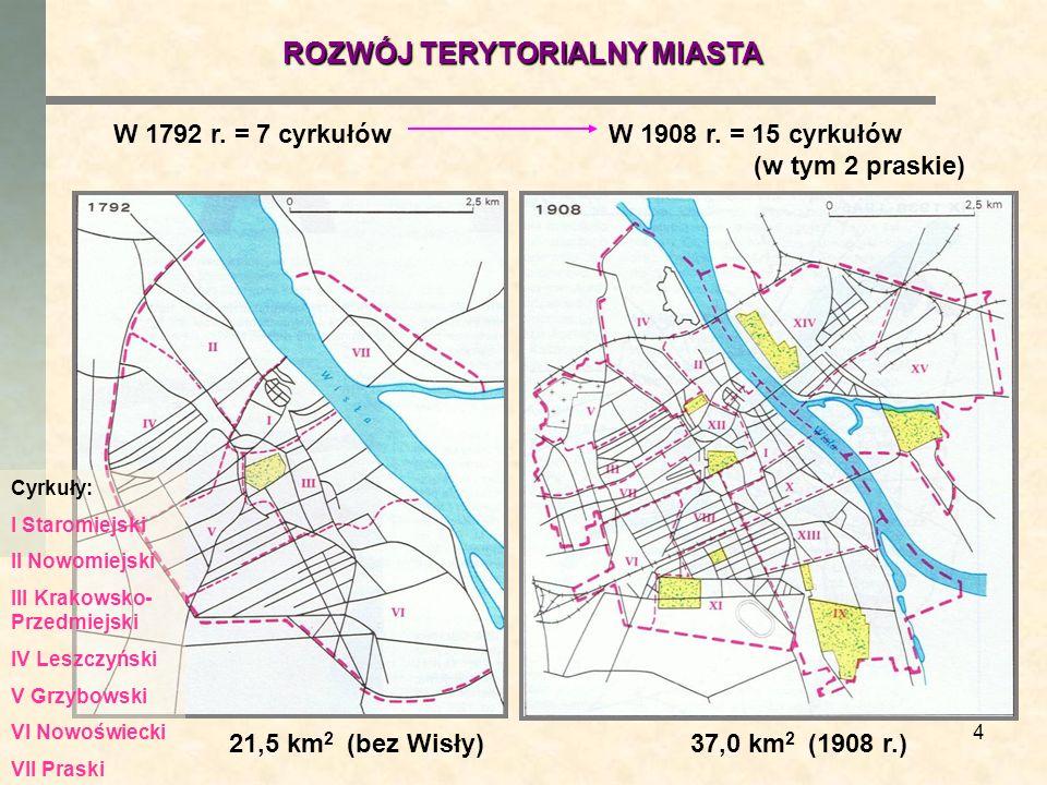 4 W 1792 r. = 7 cyrkułówW 1908 r. = 15 cyrkułów (w tym 2 praskie) 37,0 km 2 (1908 r.)21,5 km 2 (bez Wisły) ROZWÓJ TERYTORIALNY MIASTA Cyrkuły: I Staro