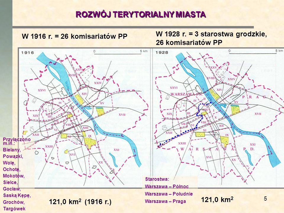 5 W 1916 r. = 26 komisariatów PP W 1928 r. = 3 starostwa grodzkie, 26 komisariatów PP 121,0 km 2 (1916 r.) 121,0 km 2 ROZWÓJ TERYTORIALNY MIASTA Przył