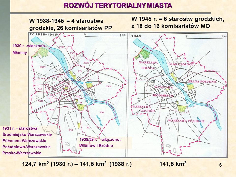 6 W 1938-1945 = 4 starostwa grodzkie, 26 komisariatów PP W 1945 r. = 6 starostw grodzkich, z 18 do 16 komisariatów MO 124,7 km 2 (1930 r.) – 141,5 km