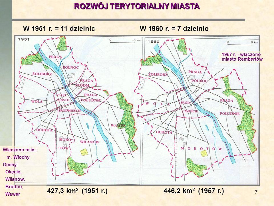 7 W 1951 r. = 11 dzielnicW 1960 r. = 7 dzielnic 427,3 km 2 (1951 r.)446,2 km 2 (1957 r.) ROZWÓJ TERYTORIALNY MIASTA Włączono m.in.: m. Włochy Gminy: O