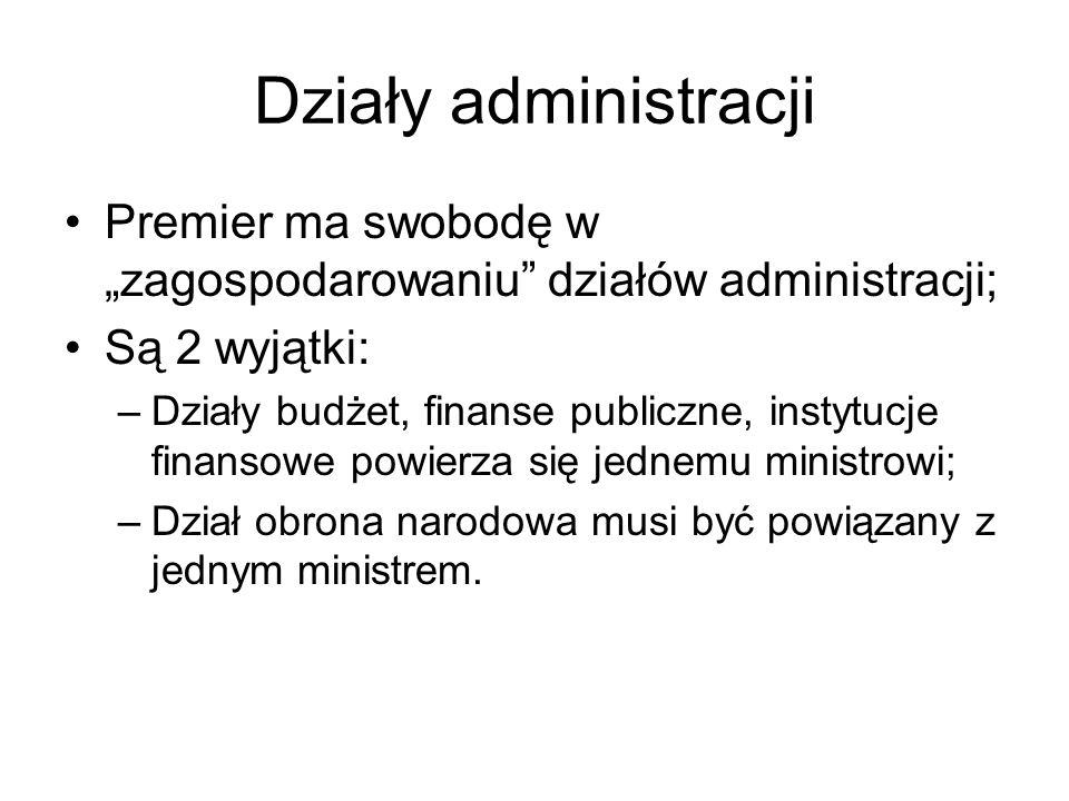 Działy administracji Premier ma swobodę w zagospodarowaniu działów administracji; Są 2 wyjątki: –Działy budżet, finanse publiczne, instytucje finansow