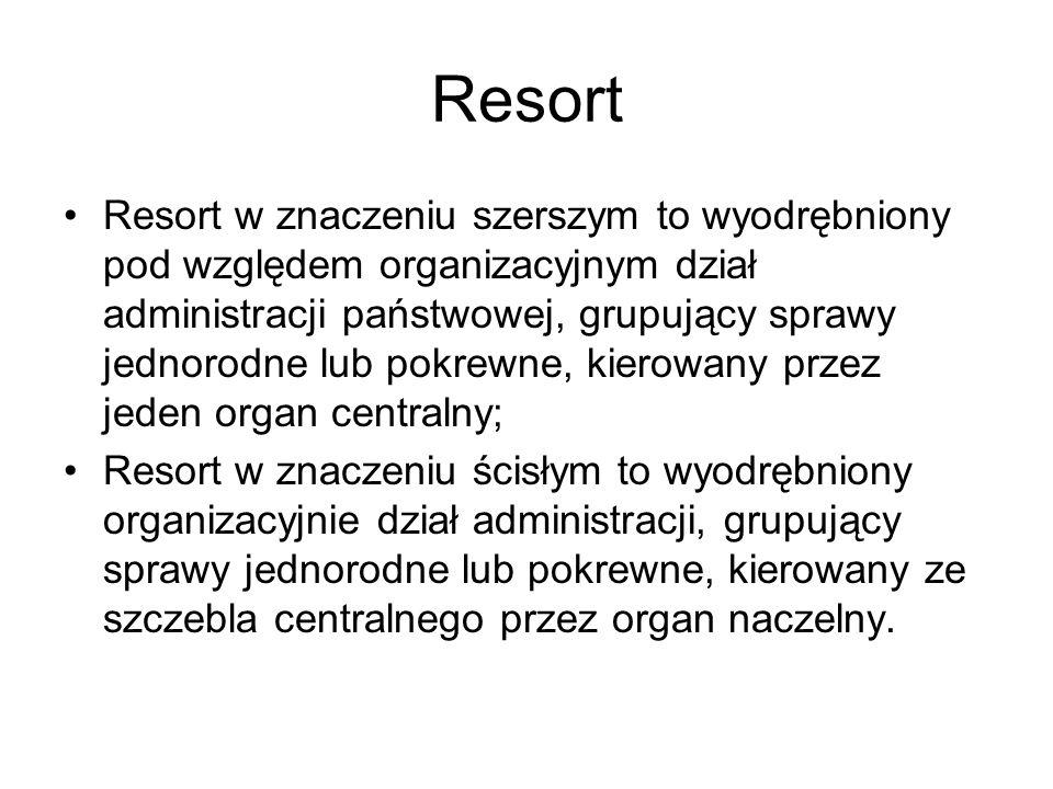 Resort Resort w znaczeniu szerszym to wyodrębniony pod względem organizacyjnym dział administracji państwowej, grupujący sprawy jednorodne lub pokrewn