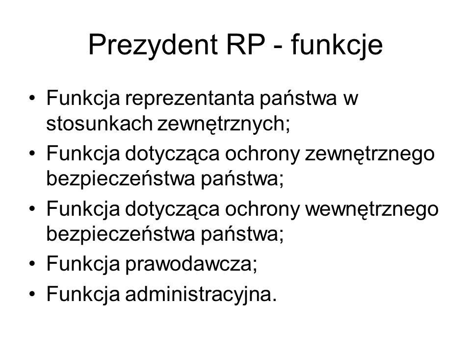 Prezydent RP - funkcje Funkcja reprezentanta państwa w stosunkach zewnętrznych; Funkcja dotycząca ochrony zewnętrznego bezpieczeństwa państwa; Funkcja