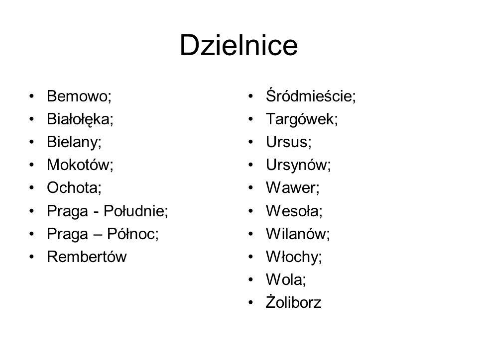 Dzielnice Bemowo; Białołęka; Bielany; Mokotów; Ochota; Praga - Południe; Praga – Północ; Rembertów Śródmieście; Targówek; Ursus; Ursynów; Wawer; Wesoł
