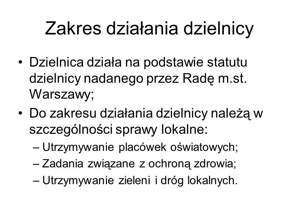 Zakres działania dzielnicy Dzielnica działa na podstawie statutu dzielnicy nadanego przez Radę m.st. Warszawy; Do zakresu działania dzielnicy należą w