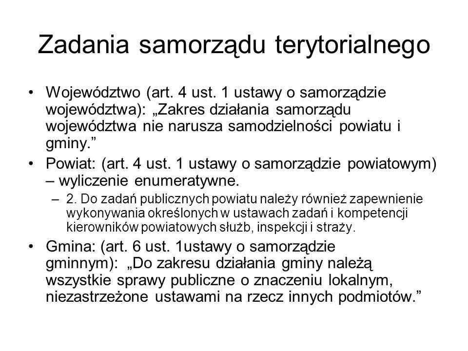 Zadania samorządu terytorialnego Województwo (art. 4 ust. 1 ustawy o samorządzie województwa): Zakres działania samorządu województwa nie narusza samo