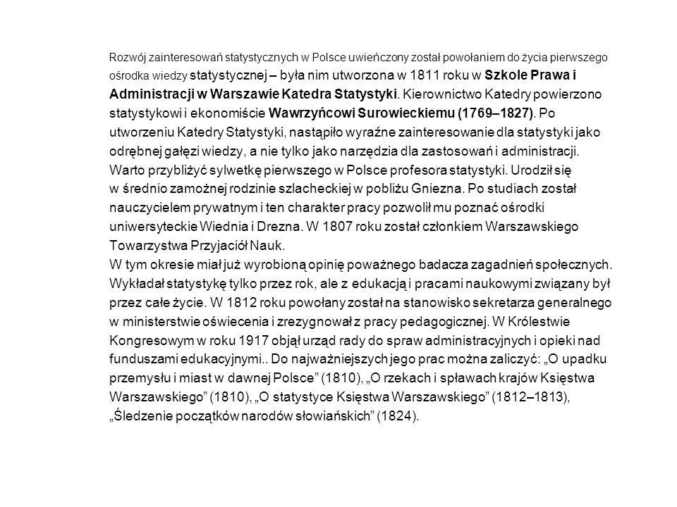 Rozwój zainteresowań statystycznych w Polsce uwieńczony został powołaniem do życia pierwszego ośrodka wiedzy statystycznej – była nim utworzona w 1811