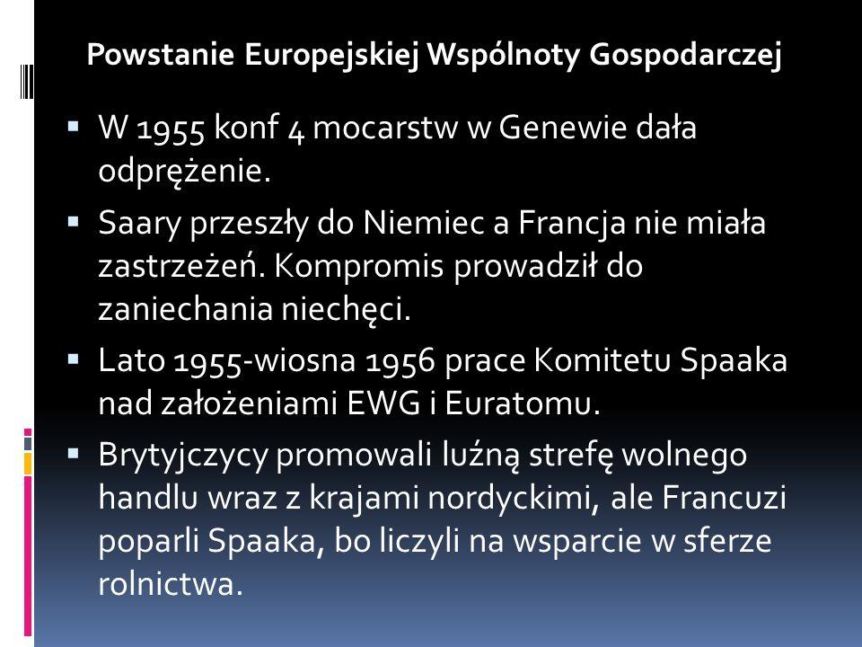 W 1955 konf 4 mocarstw w Genewie dała odprężenie. Saary przeszły do Niemiec a Francja nie miała zastrzeżeń. Kompromis prowadził do zaniechania niechęc
