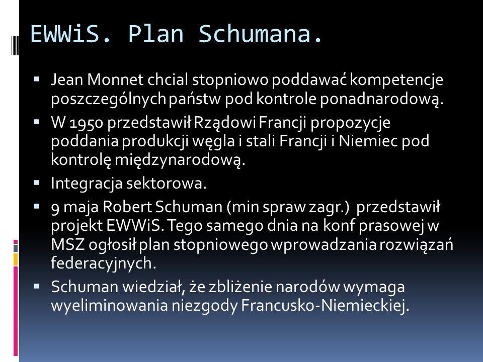EWWiS. Plan Schumana. Jean Monnet chcial stopniowo poddawać kompetencje poszczególnych państw pod kontrole ponadnarodową. W 1950 przedstawił Rządowi F