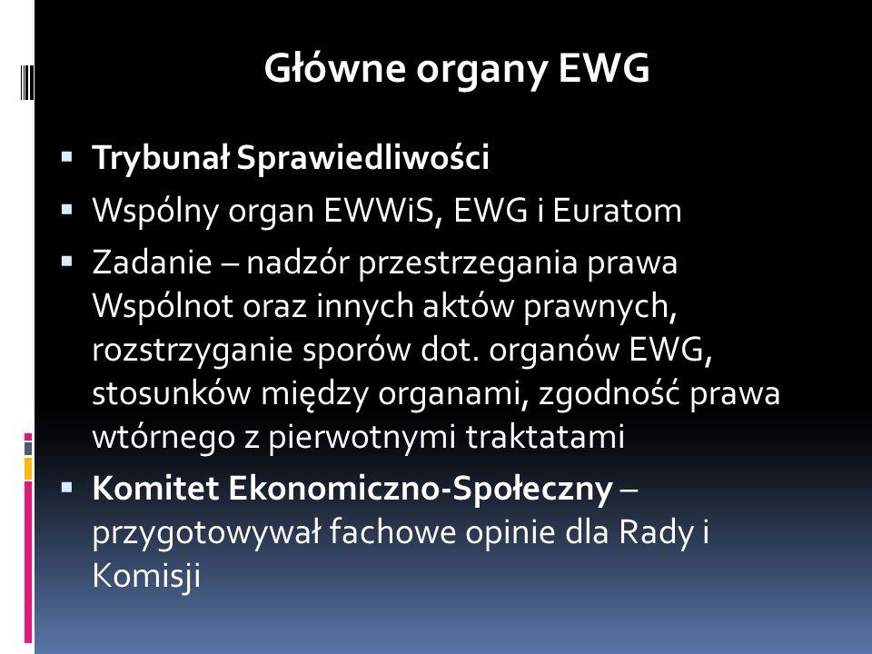 Trybunał Sprawiedliwości Wspólny organ EWWiS, EWG i Euratom Zadanie – nadzór przestrzegania prawa Wspólnot oraz innych aktów prawnych, rozstrzyganie s
