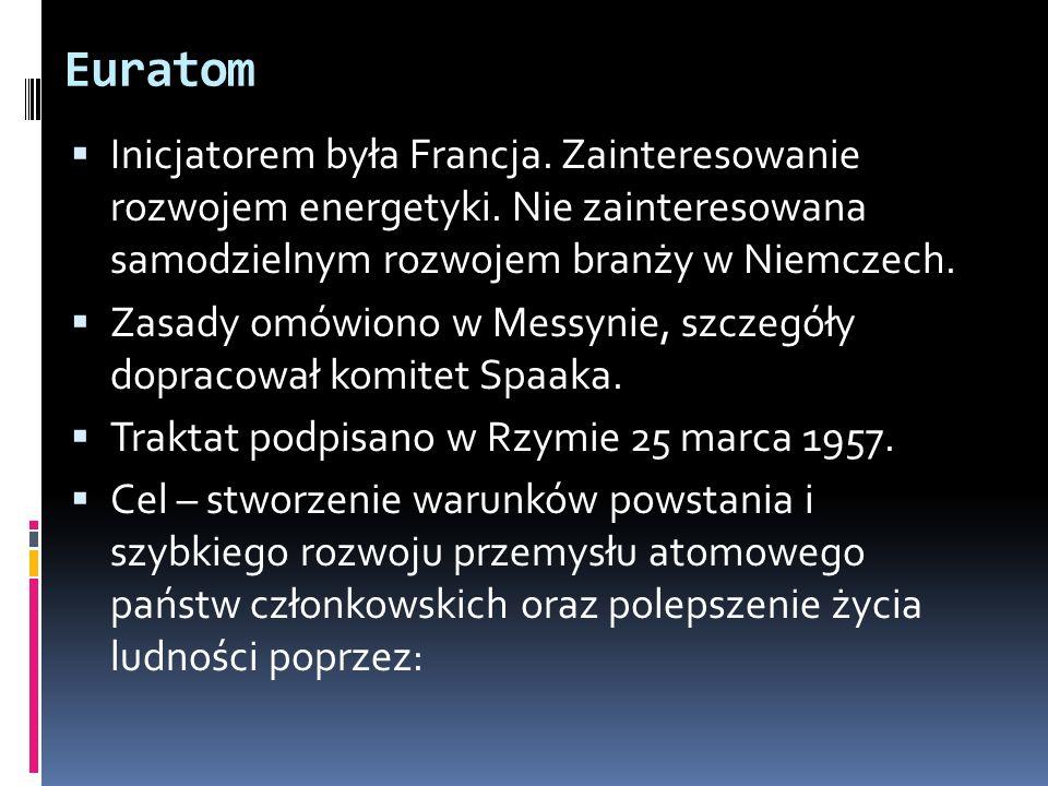 Euratom Inicjatorem była Francja. Zainteresowanie rozwojem energetyki. Nie zainteresowana samodzielnym rozwojem branży w Niemczech. Zasady omówiono w