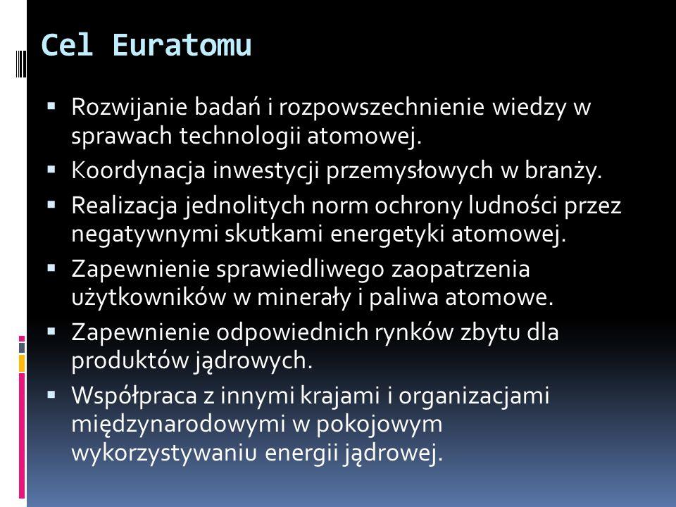 Cel Euratomu Rozwijanie badań i rozpowszechnienie wiedzy w sprawach technologii atomowej. Koordynacja inwestycji przemysłowych w branży. Realizacja je