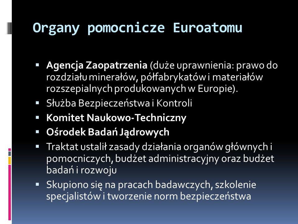 Organy pomocnicze Euroatomu Agencja Zaopatrzenia (duże uprawnienia: prawo do rozdziału minerałów, półfabrykatów i materiałów rozszepialnych produkowan