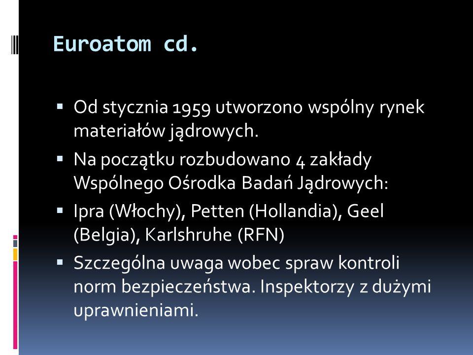 Euroatom cd. Od stycznia 1959 utworzono wspólny rynek materiałów jądrowych. Na początku rozbudowano 4 zakłady Wspólnego Ośrodka Badań Jądrowych: Ipra