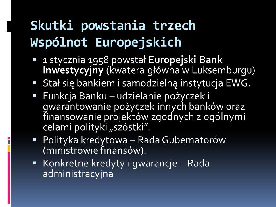 Skutki powstania trzech Wspólnot Europejskich 1 stycznia 1958 powstał Europejski Bank Inwestycyjny (kwatera główna w Luksemburgu) Stał się bankiem i s