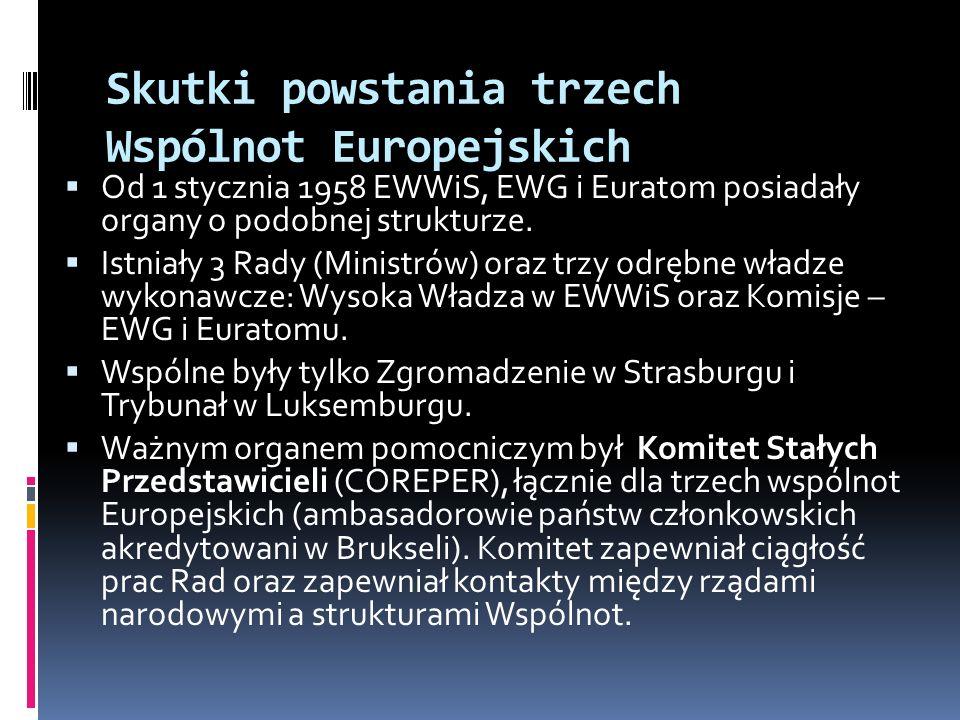 Skutki powstania trzech Wspólnot Europejskich Od 1 stycznia 1958 EWWiS, EWG i Euratom posiadały organy o podobnej strukturze. Istniały 3 Rady (Ministr